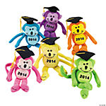 "Plush Class of ""2014"" Graduation Neon Monkey Bean Bags"