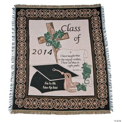 """Personalized """"Class of 2014"""" Religious Graduation Throw"""