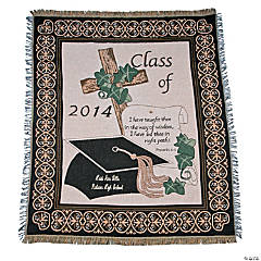 "Personalized ""Class of 2014"" Religious Graduation Throw"