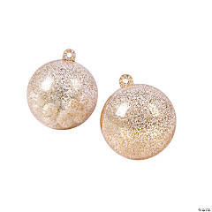 Clear Gold Glitter Ornaments