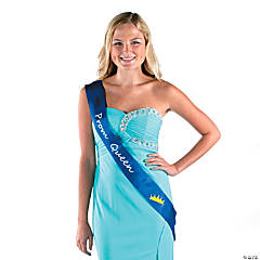 Polyester Blue Prom Queen Sash