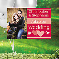 Red Wedding Custom Photo Yard Sign