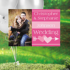 Hot Pink Wedding Custom Photo Yard Sign