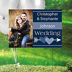 Navy Blue Wedding Custom Photo Yard Sign