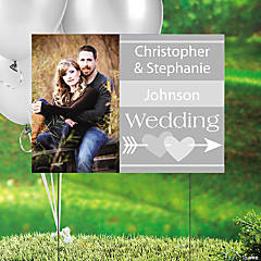 Silver Wedding Custom Photo Yard Sign