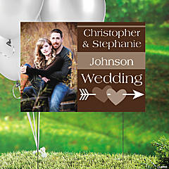 Chocolate Brown Wedding Custom Photo Yard Sign