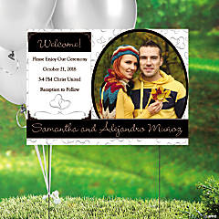Two Hearts Wedding Custom Photo Yard Sign