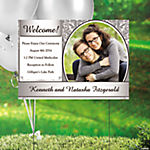 Silver & White Wedding Custom Photo Yard Sign