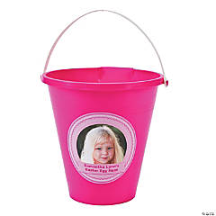 Pink Custom Photo Sand Buckets