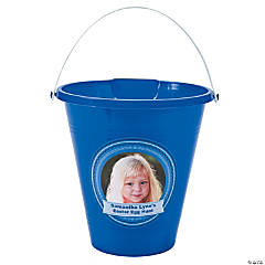 Blue Custom Photo Sand Buckets