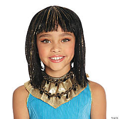 Child's Gold & Black Cleopatra Wig