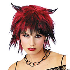 Black & Red Devil Shag Wig