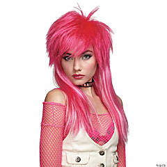 Hot Pink White Glam Wig