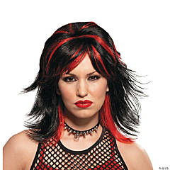 Rocker Unisex Black & Red Wig