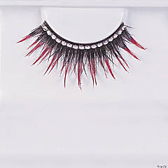 Eyelashes Black with Red Rhinestones