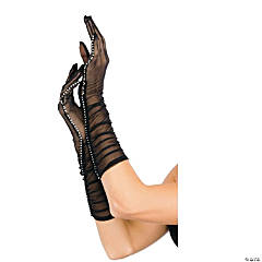 Black Gloves With Rhinestone Trim For Adults