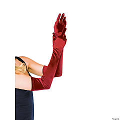 Long Red Satin Gloves