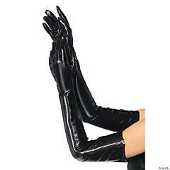Wet-Look Opera Length Gloves For Adult