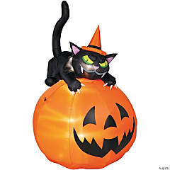 Airblown Animated Cat Over Jack-O-Lantern