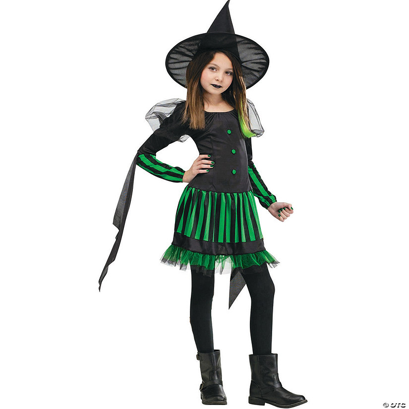 sc 1 st  Oriental Trading & Girlu0027s Green u0026 Black Wicked Witch Costume