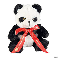 Plush Valentine Panda with Personalized Ribbon
