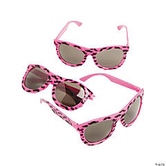 Neon Pink Nomad Sunglasses with Mustache Print