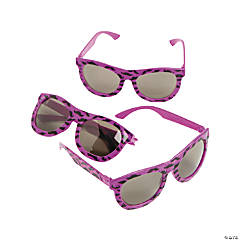 Neon Purple Nomad Sunglasses with Mustache Print