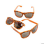 Neon Orange Nomad Sunglasses with Mustache Print