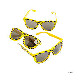 Neon Yellow Nomad Sunglasses with Mustache Print