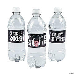 Black Class of 2014 Custom Photo Water Bottle Labels