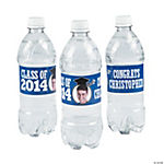 Blue Class of 2014 Custom Photo Water Bottle Labels