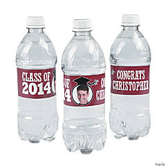 Burgundy Class of 2014 Custom Photo Water Bottle Labels