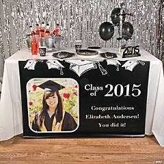 Black Graduation Custom Photo Table Runner