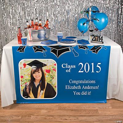 Blue Graduation Custom Photo Table Runner Oriental