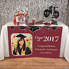 Burgundy Graduation Custom Photo Table Runner