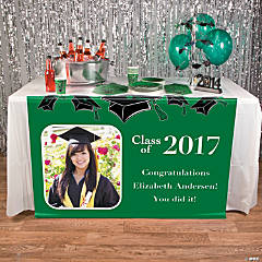 Green Graduation Custom Photo Table Runner