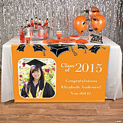 Orange Graduation Custom Photo Table Runner