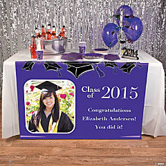 Purple Graduation Custom Photo Table Runner