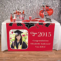 Red Graduation Custom Photo Table Runner