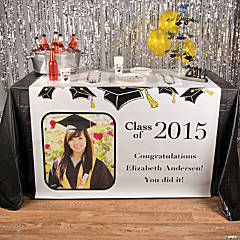 White Graduation Custom Photo Table Runner
