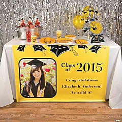 Yellow Graduation Custom Photo Table Runner