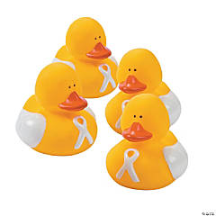 White Awareness Ribbon Rubber Duckies
