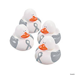 Grey Awareness Ribbon Rubber Duckies