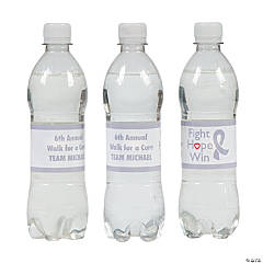 Personalized Grey Awareness Ribbon Water Bottle Labels