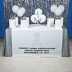 Personalized White Awareness Ribbon Table Runners