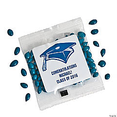 Personalized Blue Graduation Candy-Coated Chocolate-Covered Sunflower Seed Packs