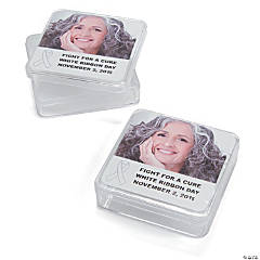 White Awareness Ribbon Custom Photo Square Containers