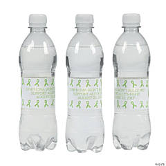 Personalized Lime Green Awareness Ribbon Water Bottle Labels