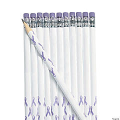 Personalized Lavender Awareness Ribbon Pencils