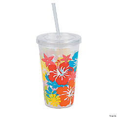 Tropical Tumbler with Straw